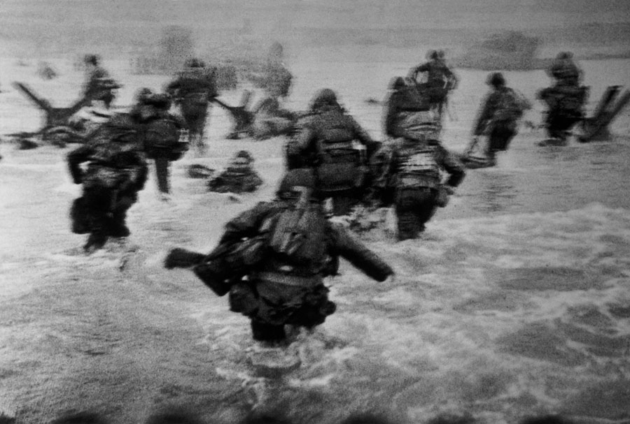Normandy. W.W.II. Operation OVERLORD.  Omaha Beach. June 6th, 1944. In June 1944 the Allied forces opened a second front in Normandy (after the one in North Africa and Italy) to liberate France. On June 6th, in what was later called D-Day, 90,000 soldiers landed on Omaha Beach (the coded name for Coleville-sur-Mer). Many of them were killed by German troops, but the Allies managed nonetheless to defeat the Germans.  FRANCE. Normandy. W.W.II. Operation OVERLORD.  Omaha Beach. June 6th, 1944. The first wave of American troops lands at dawn.