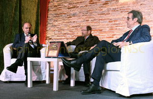 GUSTO IN SCENA; Bruno Vespa, Marcello Coronini, Riccardo Cottarelli, Foto  Romina Greggio